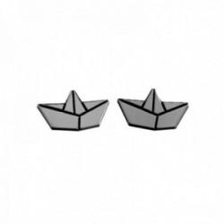 Pendientes plata Ley 925m 11mm. motivo barco papel láser cierre presión mujer [AC1257]