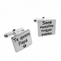 Gemelos plata Ley 925m rectangulares 15mm. dedicatoria papá corazón láser hombre [AC1260]