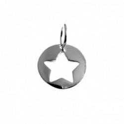 Colgante plata Ley 925m 12mm. motivo estrella calada redondo mujer [AC1264]