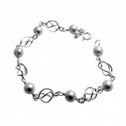 Pulsera plata Ley 925m primera comunión 17.5cm. perlas redondas eslabón jaulas cierre reasa niña