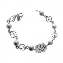 Pulsera plata Ley 925m primera comunión 16.5cm. niña perlas redondas jaulas cierre reasa