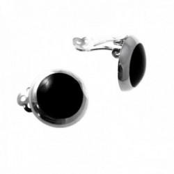 Pendientes plata Ley 925m 16mm. nácar negro cierre clip mujer [AC1272]