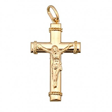 Cruz crucifijo oro 18k Cristo oval [4899]
