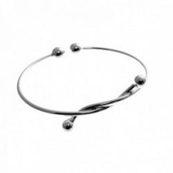 Brazalete plata Ley 925m pulsera rígida ajustable motivo nudo bolas lisas mujer [AC1301]