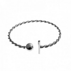 Brazalete plata Ley 925m pulsera rígida reliada ajustable bola barra lisa mujer [AC1302]