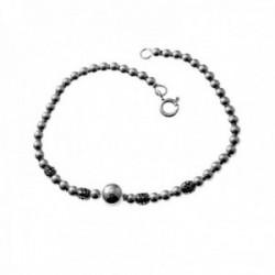 Pulsera plata Ley 925m 18cm. bolas motivos oxidados cierre reasa mujer [AC1322]