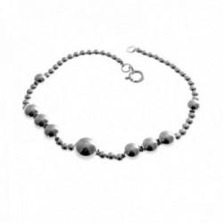 Pulsera plata Ley 925m 18.5cm. bolas motivos oxidados cierre reasa mujer [AC1325]