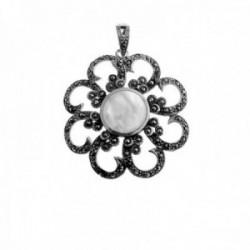 Colgante plata Ley 925m flor 35mm. nácar marquesitas mujer [AC1338]