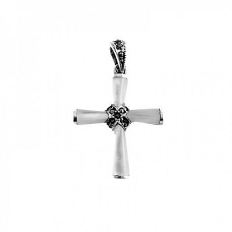 Cruz colgante plata Ley 925m cruz 30mm. nácar marquesitas mujer [AC1364]