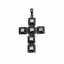 Cruz colgante plata Ley 925m cruz 40mm. nácar marquesitas mujer [AC1365]