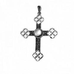 Cruz colgante plata Ley 925m cruz 50mm. nácar marquesitas calada mujer [AC1366]