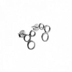 Pendientes plata Ley 925m círculos 11mm. lisos cierre presión mujer [AC1386]