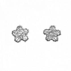 Pendientes plata Ley 925m flores 10mm. hilos cierre presión mujer [AC1387]