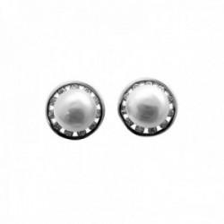 Pendientes plata Ley 925m 9mm. perlas cultivadas circonitas cierre presión mujer [AC1425]