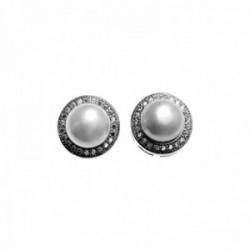 Pendientes plata Ley 925m perlas cultivadas circonitas cierre presión mujer [AC1426]