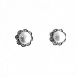 Pendientes plata Ley 925m flores 10mm. perlas cultivadas circonitas cierre presión mujer [AC1427]