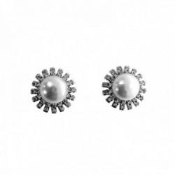 Pendientes plata Ley 925m flores 12mm. perlas cultivadas circonitas cierre presión mujer [AC1428]