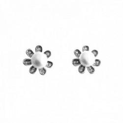 Pendientes plata Ley 925m flores 12mm. perlas cultivadas circonitas cierre presión mujer [AC1429]