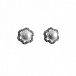 Pendientes plata Ley 925m flores 10mm. perlas cultivadas circonitas cierre presión mujer [AC1430]