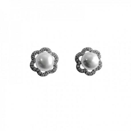 27b4fdde91d4 Pendientes plata Ley 925m flores 10mm. perlas cultivadas circonitas cierre  presión mujer  AC1430