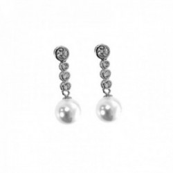 Pendientes plata Ley 925m largos 25mm. perlas círculos circonitas cierre presión mujer [AC1444]