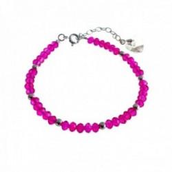 Pulsera plata Ley 925m bolas piedras rosas charm corazón cierre reasa mujer [AC1447]