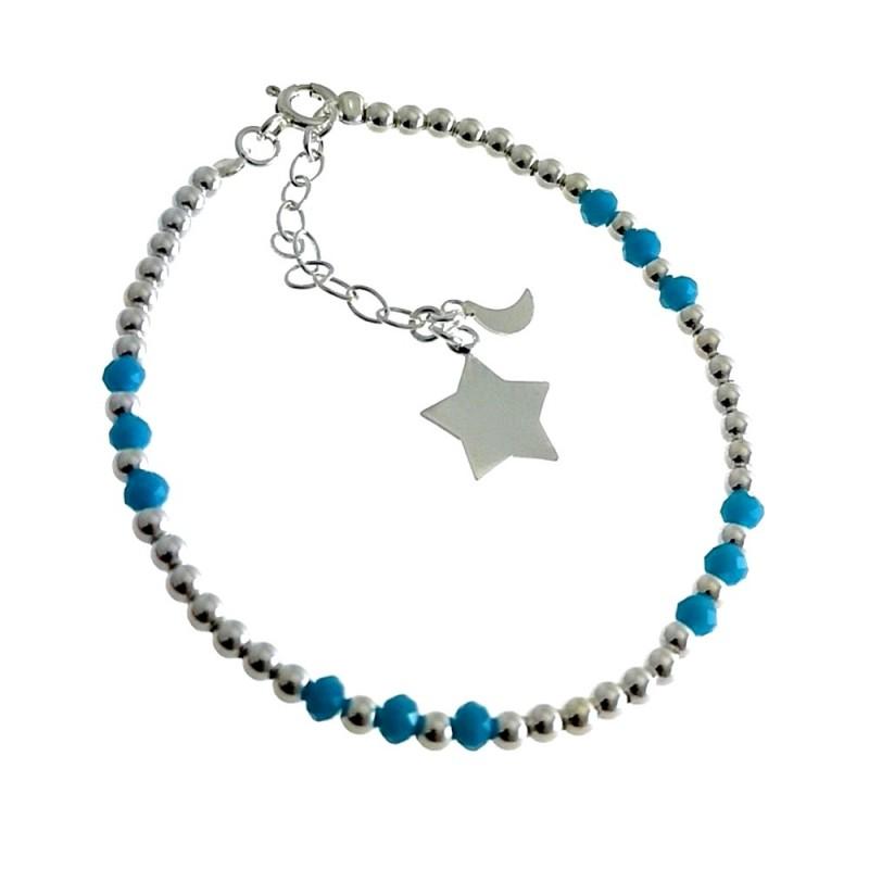 b4ffafc7998b Pulsera plata Ley 925m bolas piedras azules fetiche estrella cierre reasa  mujer  AC1449