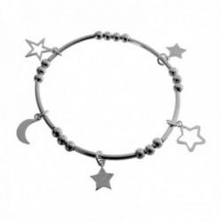 Pulsera plata Ley 925m elástica bolas fetiches estrellas luna mujer [AC1454]