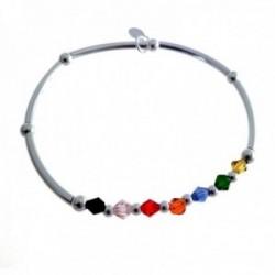 Pulsera plata Ley 925m rígida bolas lisas piedras color mujer [AC1457]