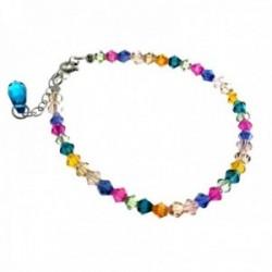 Pulsera plata Ley 925m tutifruti piedras color cierre reasa mujer [AC1458]