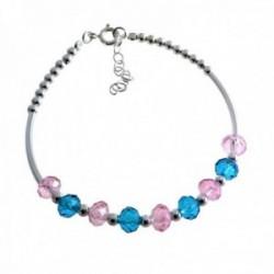Pulsera plata Ley 925m rígida bolas piedras color azul rosa cierre reasa mujer [AC1459]