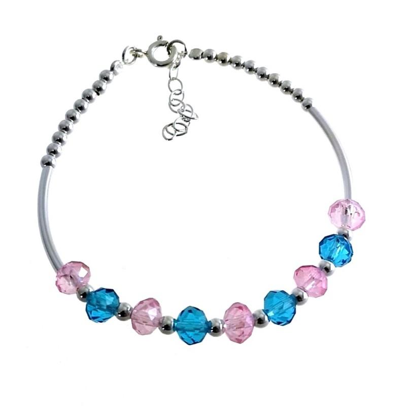 efdb73f87a97 Pulsera plata Ley 925m rígida bolas piedras color azul rosa cierre reasa  mujer  AC1459