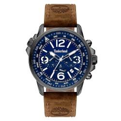 Reloj Timberland hombre Campton II 15129JSU-03 esfera azul dual-time correa piel marrón