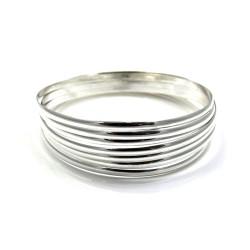 Pulsera aro plata Ley 925m semanario liso 7 aros 70mm. ancho 3mm. [AC1650]
