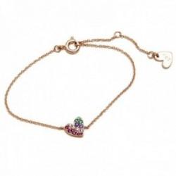 Pulsera plata Ley 925m Agatha Ruiz de la Prada rosada 14cm. colección Rainbow corazón color [AC1572]