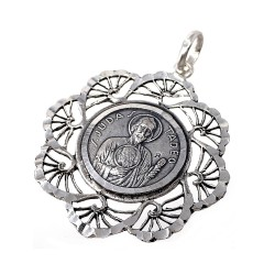 Medalla plata ley 925m San Judas Tadeo 34mm. cerco flecos mujer [AC1656]