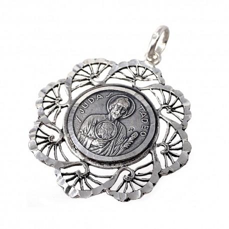 Medalla plata ley 925m San Judas Tadeo 34mm. cerco flecos mujer [AC1656GR]