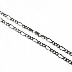 Cadena plata Ley 925m hueca lisa 60cm. modelo alternada 3x1 unisex ancho 5mm. mosquetón [AC1657]