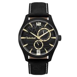Reloj Timberland hombre Ferndale 15639JSB-02 esfera negra detalles dorados correa piel