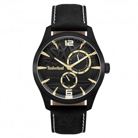 bb0b3e56a3d1 Reloj Timberland hombre Ferndale 15639JSB-02 esfera negra detalles dorados correa  piel  AC1497