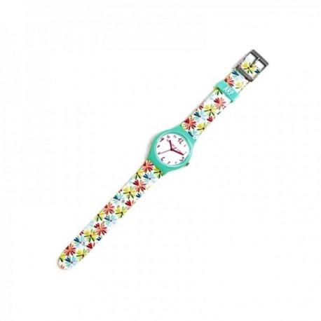 Reloj Agatha Ruiz de la Prada AGR228 colección Flip margaritas colores bisel verde [AC1575]
