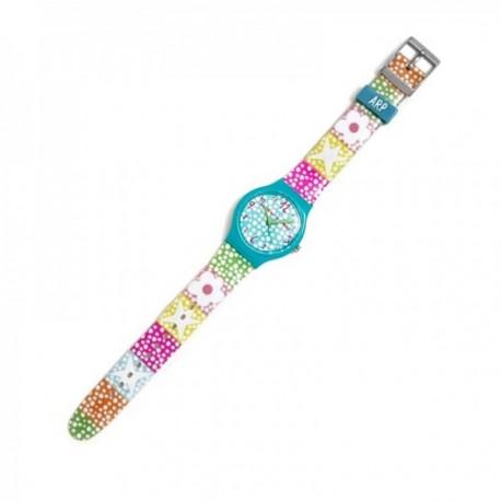 Reloj Agatha Ruiz de la Prada AGR232 colección Flip Dots lunares flores estrellas colores