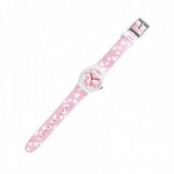 Reloj Agatha Ruiz de la Prada AGR233 colección Flip rosa corazones blancos esfera blanca