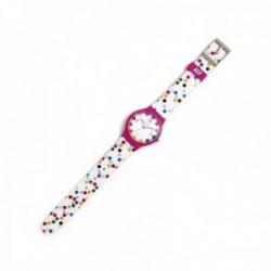 Reloj Agatha Ruiz de la Prada AGR235 colección Flip topos blanco lunares colores bisel rosa [AC1581]