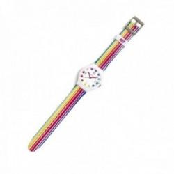 Reloj Agatha Ruiz de la Prada AGR237 colección Flip blanco rayas color finas esfera lunares [AC1584]