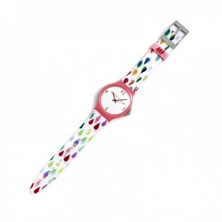 Reloj Agatha Ruiz de la Prada AGR247G colección Flip blanco lluvia colores bisel rosa [AC1595]