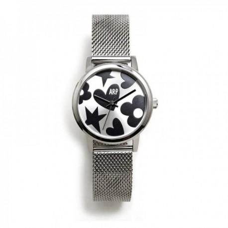 Reloj Agatha Ruiz de la Prada AGR248 colección Maya plateado correa malla milanesa