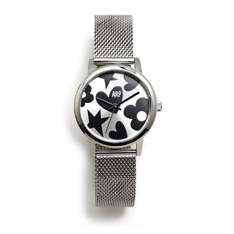 1de3e70f750f Reloj Agatha Ruiz de la Prada AGR248 colección Maya plateado correa maya  milanesa [AC1596]