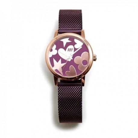 Reloj Agatha Ruiz de la Prada AGR251 colección Maya morada correa malla milanesa esfera brillante