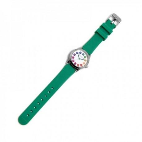 Reloj Agatha Ruiz de la Prada AGR258 colección Gominola verde esfera blanca flores colores